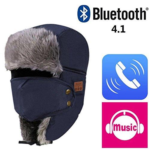 Joyeer Drahtlose Bluetooth Musik Mütze Hut Herbst Winter warm Cap mit Lautsprecher MIC, Blue