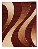 Carpeto Rugs Tapis Salon Marron 200 x 300 cm Moderne Vagues/Monaco Collection