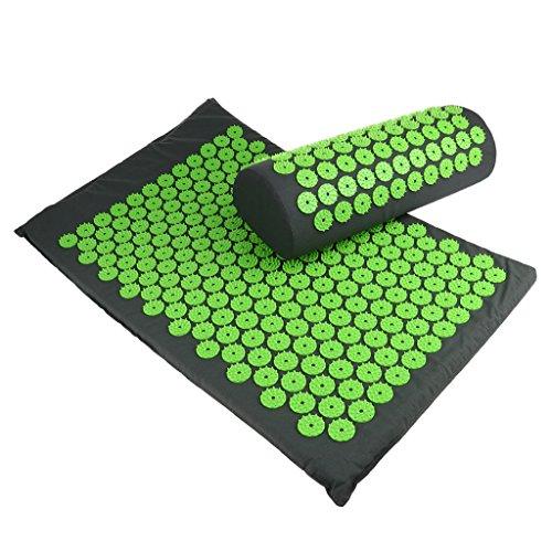 Sharplace Akupressur-Set inkl. Massagematte (66x40cm) & Entspannungs-Kopfkissen (38x14cm) | Entspannung & Lockerung von Verspannungen - ideal als Meditationsmatte / Nagelmatte - Grau Grün, wie beschrieben