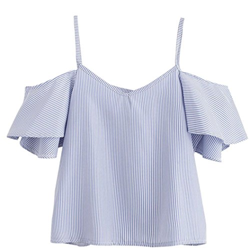 FNKDOR Women's Summer V Neck Blouse Short Sleeve Pullover Striped Cool Shirt