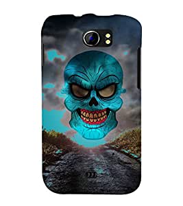 Green Horror Skull Graphics 3D Hard Polycarbonate Designer Back Case Cover for Micromax Canvas 2 A110 :: Micromax Canvas 2 Plus A110Q