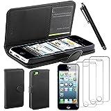 ebestStar - Etui iPhone 5C - Housse Coque Etui Portefeuille Support PU Cuir + Stylet tactile + 3 Films protection écran, Couleur Noir [Dimensions PRECISES de votre appareil : 124.4 x 59.2 x 9 mm, écran 4'']