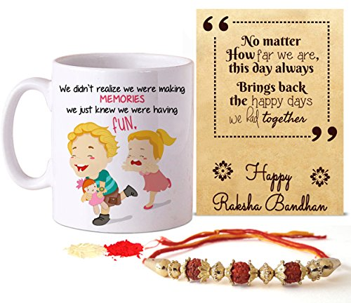 Tied Ribbons Rakshabandhan Gifts for Brother Combo (Designer Rakhi, Printed Coffee Mug, Rakshabandhan Special Card, Roli Chawal)