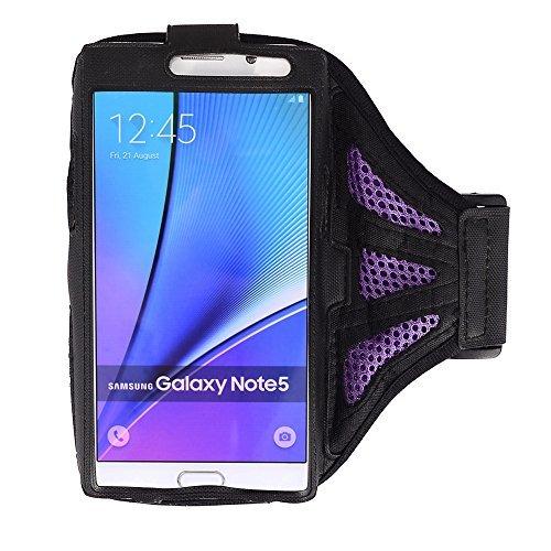 Premium Mesh Workout Sportarmband mit Tasche Schutzhülle für Samsung Galaxy Note 5/Note 4/Galaxy S6Edge + Plus/iPhone 6Plus/LG G4/LG G Stylo, Violett/Schwarz - Cell Sprint 6 Plus Iphone Phones