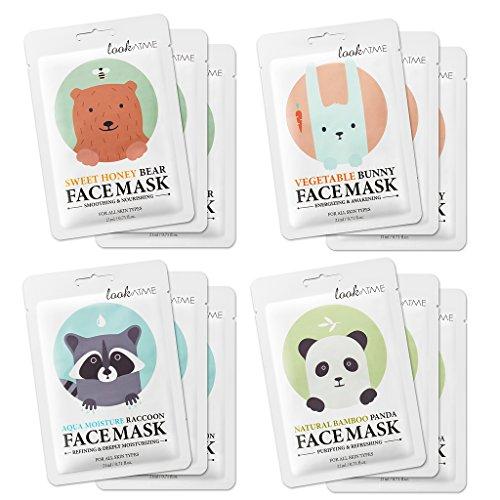 lookatme máscara de Animal–12Premium Cute Face hoja máscaras para purificación, energizante, suavizado, Hidratante. Impresionante coreano para el cuidado de la piel