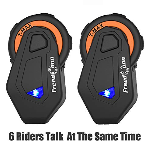Interfono Bluetooth TMAX Moto, Auricolare Bluetooth, Interphone Cuffie per Equitazione/Sci/Motoslitta/Scooter/ATV, 6 Simultaneous Intercom Riders/Radio FM/Gamma 1500m(2 PACK)
