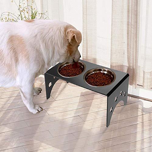 SOULONG Erhöhter Futterspender für Haustiere, erhöhter Acryl-Ständer, 2 Futternäpfe für Katzen und Hunde, 35 x 17 x 13 cm -