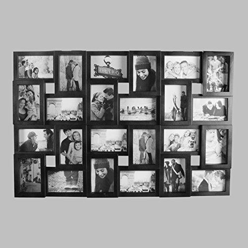 *DRULINE 24 Fotos Bilderrahmen Fotorahmen Fotocollage Collage Fotogalerie Bildergalerie (Schwarz)*