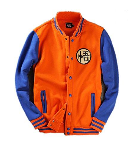 Goku Hoodie Kostüm Herren Raglan Ärmel Baseball Jacke Anime Cosplay Sweatshirt Kleidung (Dragon Ball Z T Shirt Kostüme)