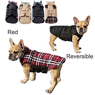 IREENUO Dog Reversible Plaid Coat Autumn Winter Warm Cozy Waistcoat British Style Dog Padded Jacket for Small Medium Dogs (M, Red)