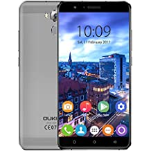 Oukitel U16 Max Smartphone 4G LTE Android 7.0 Pantalla 6,0 Pulgadas 1280 * 720 Pixel MTK6753 Octa Core 64bit 3GB RAM 32GB ROM Cámara 13MP + 5MP Batería 4000mAh Huellas Tactilares, Gris