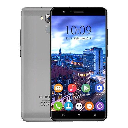 Oukitel U16 Max 6 Zoll Smartphone Android 7.0 4G LTE Handy 3GB RAM 32GB ROM 4000mAh Dual SIM ohne Vertrag MTK6753 Octa Core 13MP + 5MP Kamera Metallgehäuse mit Fingerabdrucksensor, Grau