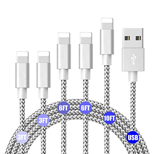 iPhone Ladekabel MFi zertifiziertes Lightning Kabel 6er Pack (3FT 6FT 10FT) x 2 USB Kabel mit Schnellladung Hochgeschwindigkeits Ladekabel Kompatibel mit dem iPhone X 8 8 Plus 7 7 Plus iPad (6 Feet Micro-usb-kabel-pack)