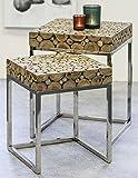 CASABLANCA Teck Table d'appoint, métal chromé, Lot de 2