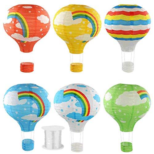 heliltd 6pcs Papierlaternen, Regenbogen-Heißluft-Ballon-Form-Laternen mit 1 Stück der hängenden Linie für Partei-Geburtstags-Hochzeits-Dekoration