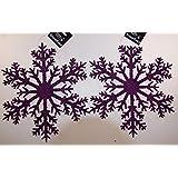 Set Of 2 Giant XL Hanging HOT PURPLE Glitter Snowflake Christmas Decorations