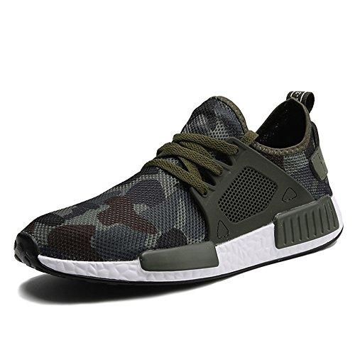 XIANV Beiläufige Schuhe Frühlings Sommer Art und Weisemann Schuhe Hombre Sneaker Armee Grün Männer Beschuht Beiläufige Tarnungs Schuhe (42 EU, Grün)