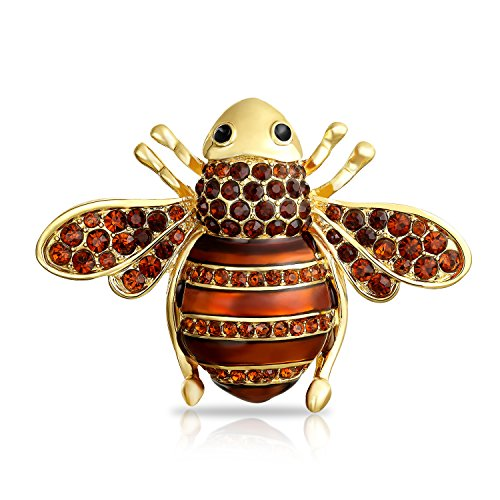 Bling Jewelry Schwarzen Kristall Große Mode Queen Bumble Bee Brosche Pin Für Damen Für Mutter Messing (Queen Kleid Bee)