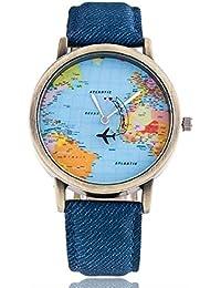 Maan International New 2018 World Map Designer Blue Leather Strap Analogue Men & Boy Watch
