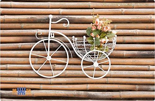 European-Style Eisenwand hängender Blumenrahmen Kreatives Fahrrad Wohnzimmer Balkon Wand hängende Töpfe weißer Garten Pasta Korb (Farbe : Weiß) - Garten Pasta