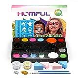 Face Paint Ultimate Party Pack, kit de Maquillage pour Le Visage pour Enfants avec 14 Couleurs, 30 pochoirs, 4 éponges Professionnelles, 2 pinceaux, 2 Paillettes pour Noël (14 Color)