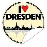 I love Dresden ♥ Aufkleber rund ♥ 9,5 cm ♥ inkl. Alles Gute - Postkarte ♥ Dresden Geburtstag Geschenk ♥ Zur Personalisierung von Geschenken