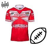 WERTYUH 2019-20 Maillot De Football à Domicile Tonga Fan Shirts Maillot De Rugby De Football pour Entraînements Uniformes pour Homme,Red-M