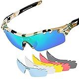 Tsafrer - occhiali sportivi polarizzati unisex con 6 lenti intercambiabili; occhiali da uomo e donna per bicicletta, guida, corsa, pesca, golf, sci; montatura infrangibile TR90, Camouflage