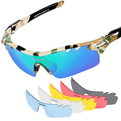 94e499a86efb2 Tsafrer Unisex Polarized Sports Sunglasses with 6 Interchangeable Lenses