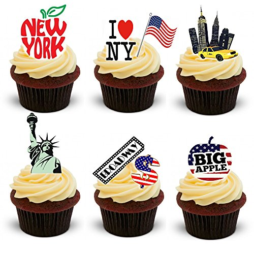 York Vollständige New (30 Stand Up New York City Thème plaquette comestibles Papier Cake Toppers décorations)