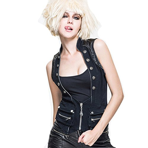 Devil Fashion - Manteau sans manche - Maillot de corps - Femme Noir