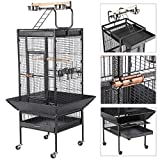 Yaheetech Bird Breeding Cage Pet Supply Metal African Grey Parrots Cockatiels Sun Parakeets Conure Lovebirds Budgies Finches Play Top Bird Cages with Perch Stand and Wheels (Black)