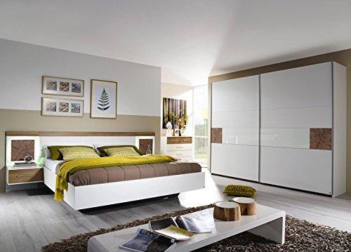 lifestyle4living Schlafzimmer, Schlafzimmermöbel, Komplettset, Schlafzimmereinrichtung, Komplettangebot, 4-teilig, alpinweiß, Eiche Riviera NB, Hirnholz