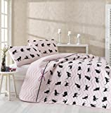DecoMood Cats Bedding, Single/Twin Size Bedspread/Coverlet Set, Cats Themed Girls Bedding, 2 PCS, Powder
