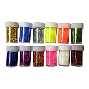 Shoppertize Glitter, Fine Glitter Powder for Art & Craft (Pack of 12)