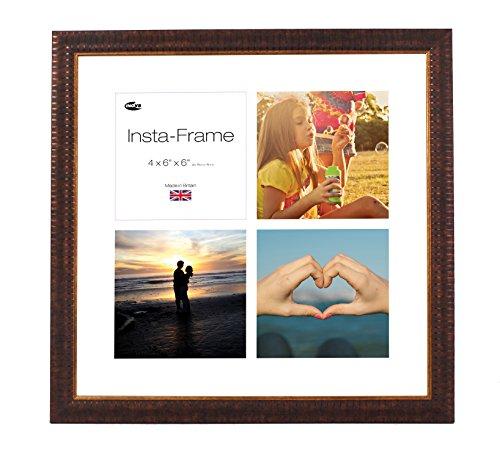 Inov8 16 x 16 Insta-Frame-Bilderrahmen für 4 Fotos, quadratisch, Instagram, mit weißem Passepartout und Einsatz, Weiß, 2er-Pack, Design, Braun -