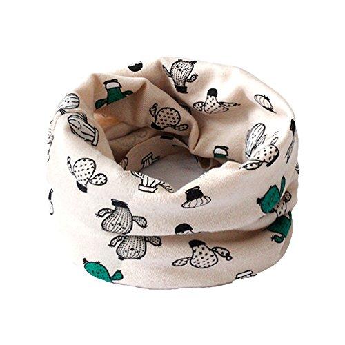 Bigboba cute scaldacollo multiuso per bambini morbida e calda sciarpa con motivo di cactus di cartone animato, cotone scaldacollo per l'autunno e l'inverno,rosa chiaro,40*20cm