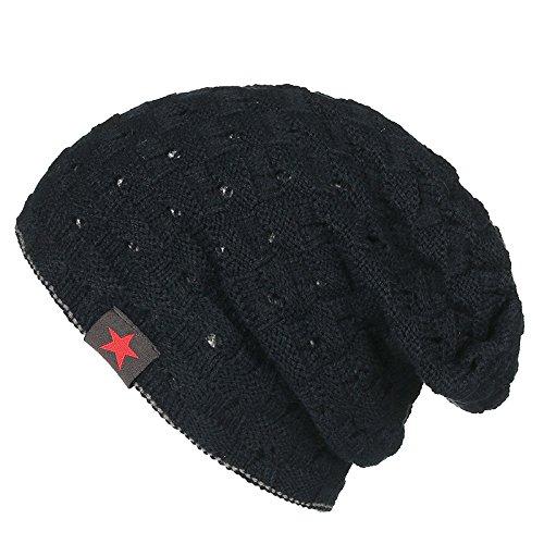 Swallowuk Herren Casual Warm Beanie Mütze Strickmütze Caps Winter Hut (Schwarz)