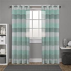 """DEZENE rayas gasa cortinas para sala de estar–2paneles–(aspecto de lino–cortina de confección con ollaos, tela, Black Teal and White, 2 x 54"""" x 72""""(140x182cm)"""