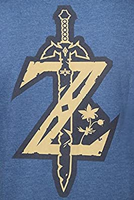 The Legend of Zelda Breath Of The Wild - Gold Game Logo Sweat à capuche zippé bleu chiné