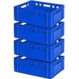4x Fleischkasten E2, LxBxH 600 x 400 x 200 mm, blau