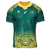 Ghuajie5hao Maglie Rugby Uomo Australia Rugby Fan T-Shirt Calcio Sostenitori Manica Corta All'aperto Abbigliamento Sportivo Camicia da Allenamento Traspirante,Verde,XXL