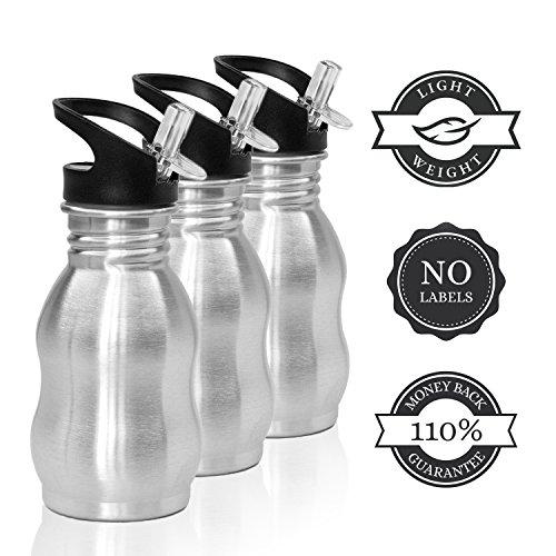 Edelstahl Trinkflasche Sport für Kinder 350ml (0,35l), 500ml (0,5l) Wasserflasche mit Sportverschluss, 100% BPA und PHTHALAT-FREI. 110% Geld zurück Lebensdauer GARANTIE