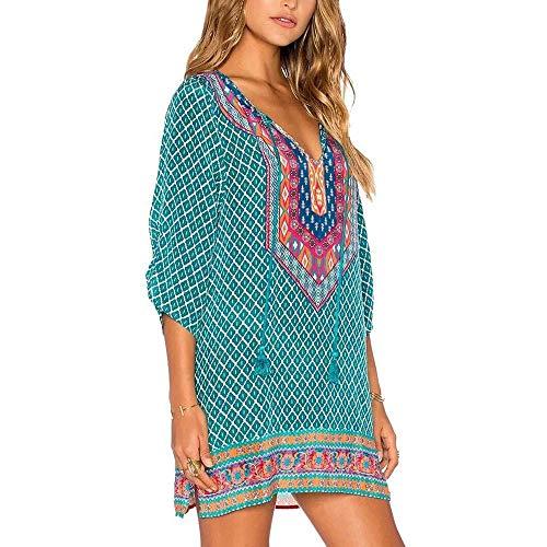 SKBOOS Verano Vintage Hippie Vestidos para Mujer Moda Floral Impreso Boho Vestido para Mujer con Cuello en v Vestidos de Fiesta Flojos Ocasionales Vestidos