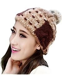 Smarstar Chapeau Béret Fourrure En Lapin D'élevage Tricoté Bonnet Femme chapka en hiver femme Chaud Tricotage Crochet Bonnet