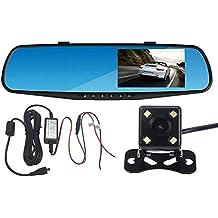 Panlelo® PAC30P, per cruscotto auto video registratore DVR specchietto retrovisore auto doppio obiettivo anteriore e telecamera di retromarcia registrazione video HD 10,9cm schermo LCD