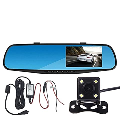 Panlelo®PAC30P,Car Dash Cam Vehicle Rearview Mirror DVR Car Video Recorder Auto Dual Lens Front & Reversing Camera 4.3 inch LCD Blue screen HD Video