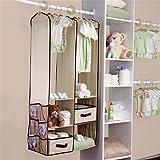 Organizzatore da armadio, da appendere, organizzatore per armadio della stanza dei neonati, set guardaroba con scaffali e 2cassetti, 6divisori per armadio e 10grucce Khaki