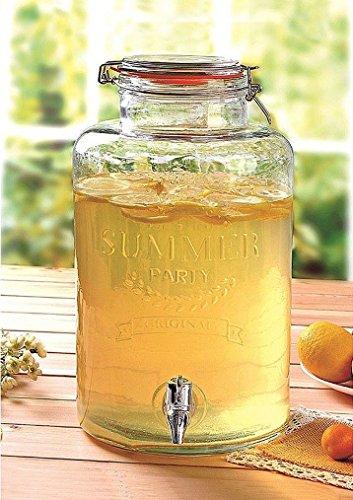 Emanhu Trading Getränkespender aus Glas mit Zapfhahn Getränke Eis-Tee Saft Drinks Dispenser 8L -