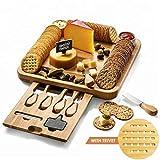 Planche à fromages et ensemble de coutellerie PREMIUM (ainsi qu'un emballage de haute qualité). Planche en bambou et planche de service pour les biscuits, le vin, le brie et la viande.